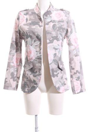 Made in Italy Kurzjacke hellgrau-pink Blumenmuster Casual-Look