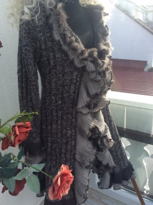 Made in Italy Płaszcz z dzianiny antracyt-jasnoszary Moher