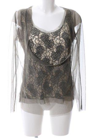 Made in Italy Langarm-Bluse braun-creme Blumenmuster Elegant