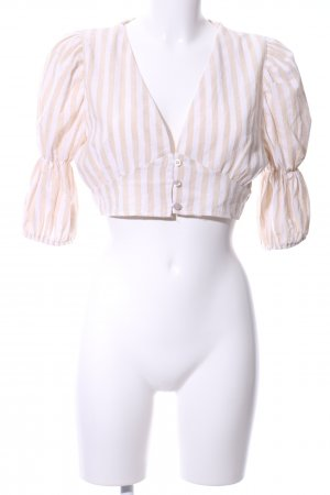 Made in Italy Langarm-Bluse creme-weiß Streifenmuster Casual-Look