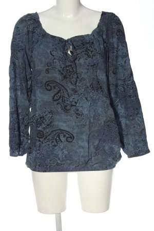 Made in Italy Langarm-Bluse blau-schwarz abstraktes Muster Casual-Look