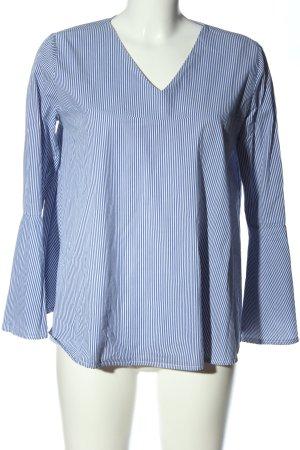 Made in Italy Langarm-Bluse blau-weiß Streifenmuster Business-Look