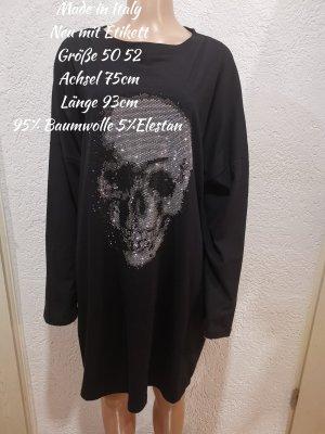 Made in Italy langer Glitzer Totenkopf Pullover