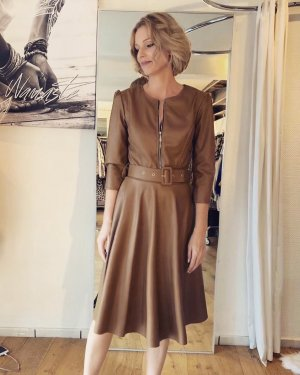 Made in Italy Leder  Kleid  Gr. S braun Cognac