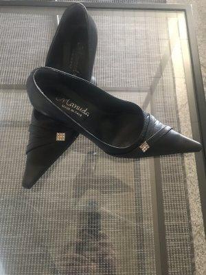 Stiletto noir-argenté cuir