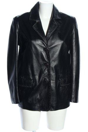 Made in Italy Lederjacke schwarz Glanz-Optik