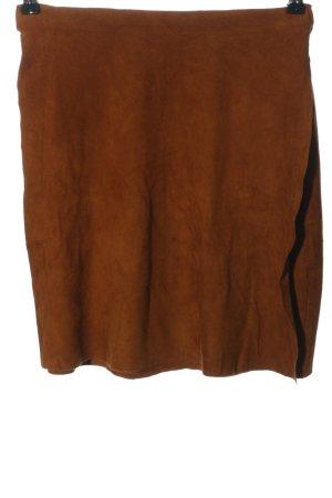 Made in Italy Falda de cuero marrón look casual