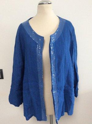 Made in Italy Leinenjacke / Cardigan Gr XL blau Pailetten
