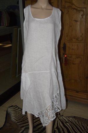 Made in Italy Leinenkleid weiß, Midilänge, ungetragen ca. 40