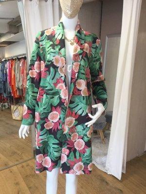 Made in Italy Long Blazer bunt floral Blumen Onesize grün rosa schwarz