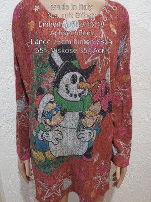 Made in Italy Mickey Mouse Glitzer X-MAS Pullover Größe 46 48 3XL 4XL Einheitsgröße