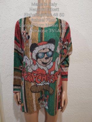 Made in Italy Mickey Mouse Glitzer X-MAS Pullover Größe 48 50 4XL 5XL Einheitsgröße