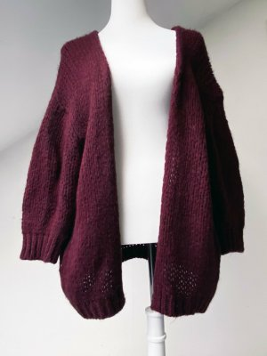 Made in Italy Coarse Knitted Jacket blackberry-red