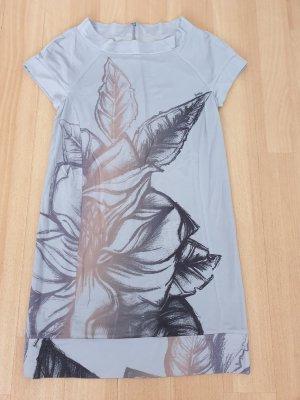 Made in Italy, romantisches Kleid in Grau mit Blume, Gr. 34