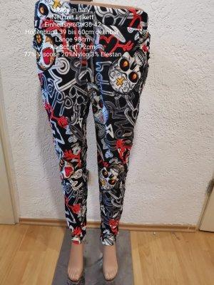Made in Italy Schwarz bunte Totenkopf Jogpants Jogger Hose Größe 36 38 40 42 Einheitsgröße