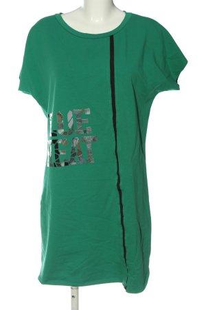 Made in Italy Robe t-shirt vert-argenté lettrage imprimé style décontracté