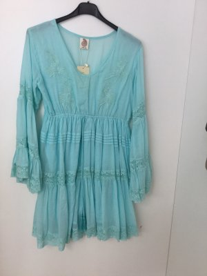 Made in Italy Sommer Hippie Kleid mit Volant Mint grün Onesize