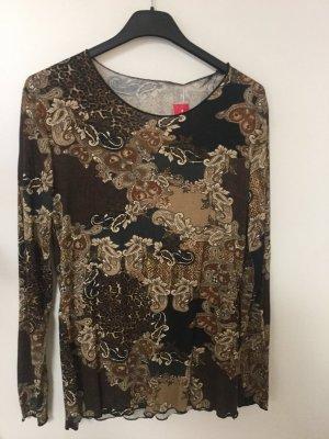 Made in Italy Stylisches Fashion Langarmshirt Size 36/38 braun schwarz paisley