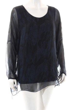 Made in Italy Transparenz-Bluse dunkelblau-schwarz florales Muster Elegant