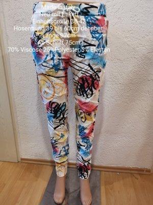 Made in Italy weiß bunte Smiley Jogpants Jogger Hose Größe 36 38 40 42 Einheitsgröße