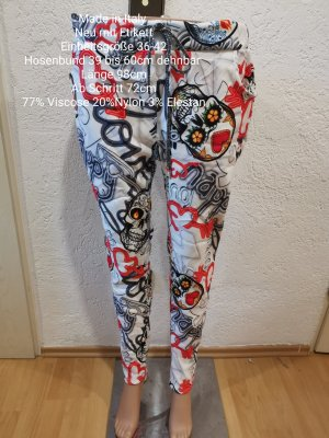 Made in Italy weiß bunte Totenkopf Jogpants Jogger Hose Größe 36 38 40 42 Einheitsgröße