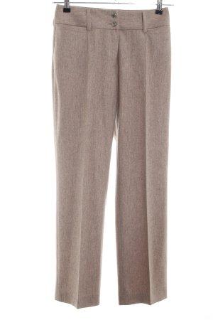Madeleine Pantalon wolwit-bruin gestippeld zakelijke stijl