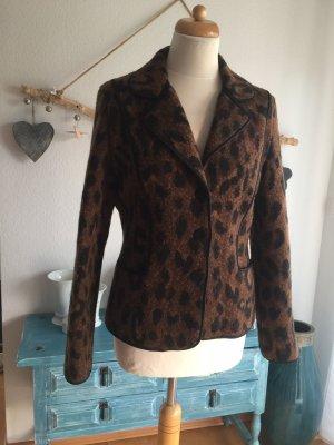 Madeleine Blazer en laine brun-noir tissu mixte