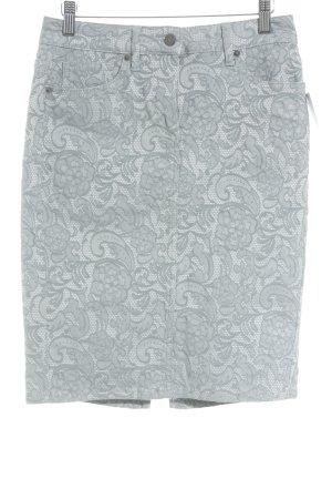 Madeleine Bleistiftrock weiß-graugrün Blumenmuster Casual-Look