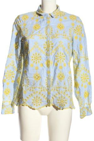 Madeleine Cols de blouses bleu-jaune primevère imprimé allover