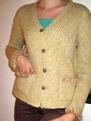 Madeleine Cardigan Strickjacke Jacke Strick beige Wolle Fellbesatz Taschen Knopfleiste 34 36 38 XS S M