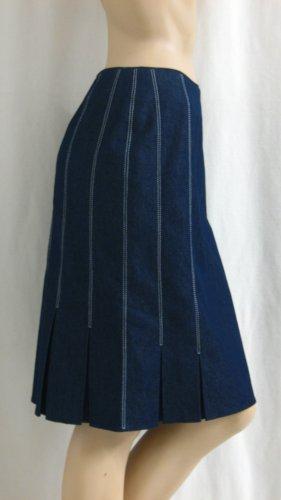 Madeleine Spódnica midi ciemnoniebieski-biały Tkanina z mieszanych włókien