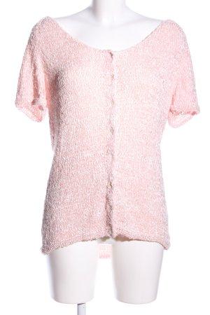 Madeleine Top en maille crochet rose-blanc imprimé allover style décontracté
