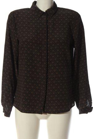 Madeleine Camicia blusa nero-marrone stampa integrale stile casual