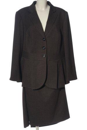 Madeleine Damespak bruin-wolwit gestreept patroon zakelijke stijl