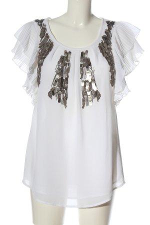 Madeleine Kurzarm-Bluse weiß-silberfarben Elegant