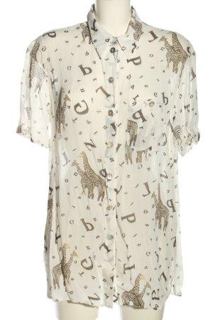 Madeleine Chemise à manches courtes blanc cassé-brun imprimé allover
