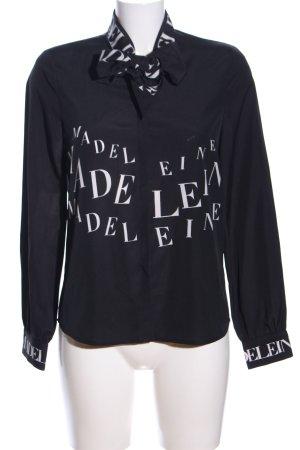 Madeleine Langarm-Bluse schwarz-weiß Schriftzug gedruckt Business-Look