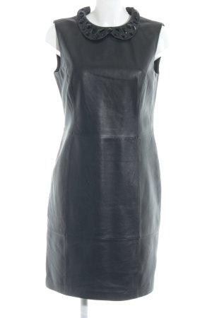 Madeleine Robe en cuir noir