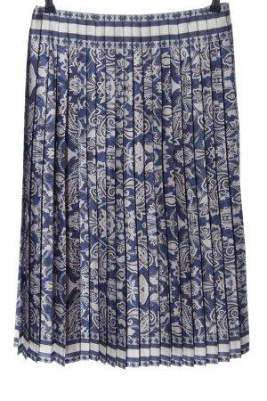 Madeleine Jupe plissée bleu-blanc imprimé allover style décontracté