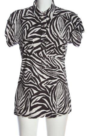 Madeleine Polo-Shirt schwarz-weiß Allover-Druck Casual-Look