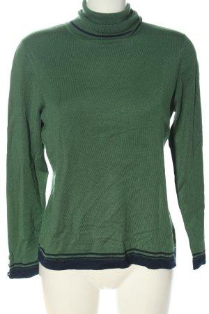 Madeleine Rollkragenpullover grün-schwarz Streifenmuster Casual-Look