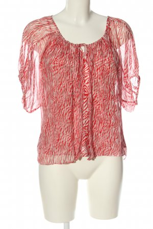 Madeleine Schlupf-Bluse rot-weiß abstraktes Muster Elegant