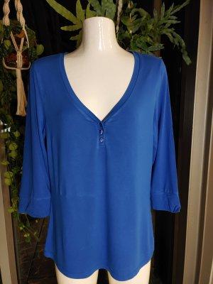 Madeleine V-hals shirt staalblauw