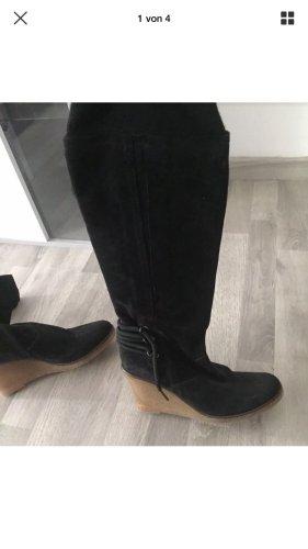 Madeleine Stiefel hohe Schuhe Keilabsatz Leder