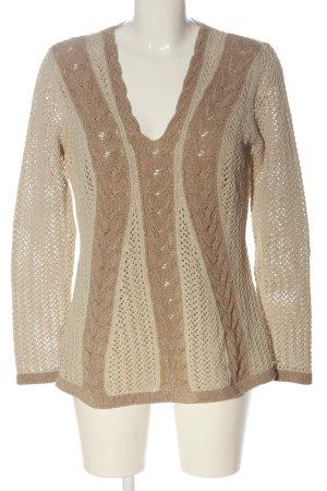 Madeleine V-Ausschnitt-Pullover creme-braun Zopfmuster Casual-Look