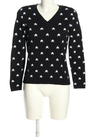 Madeleine V-Ausschnitt-Pullover schwarz-weiß Allover-Druck Casual-Look