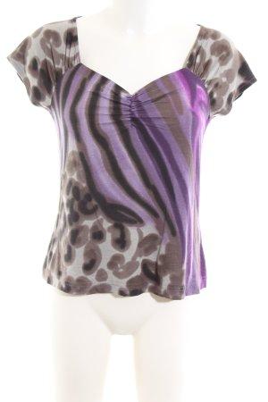 Madeleine V-Ausschnitt-Shirt Animalmuster Casual-Look