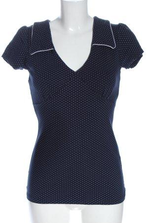 Mademoiselle YéYé V-Neck Shirt blue-white spot pattern casual look