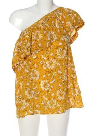 Madewell Top de un solo hombro amarillo pálido-blanco estampado floral