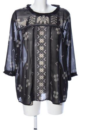 Madison Scotch Tunique-blouse bleu-blanc cassé motif graphique
